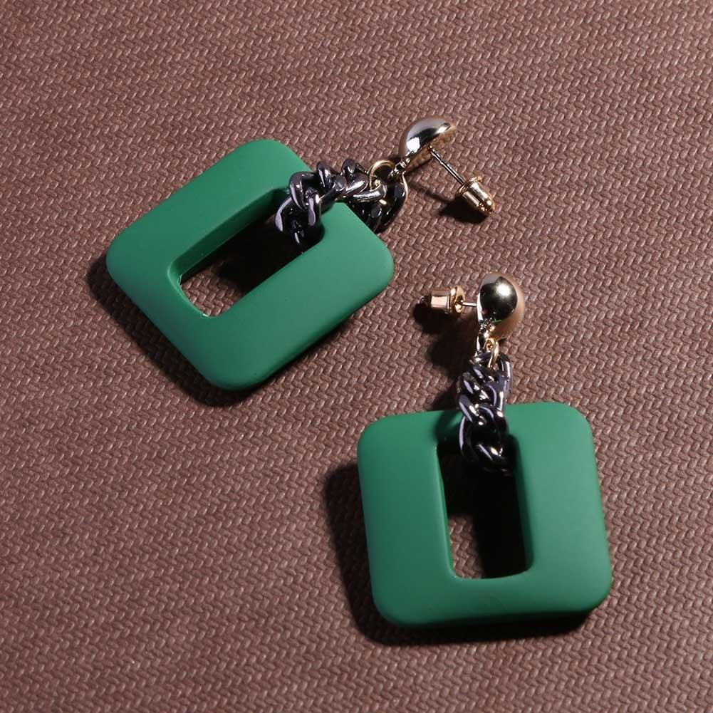 Diamondo Retro Wood Acrylic Earring Geometric Square Drop Earrings for Women Green