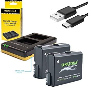 Patona cargador USB 1966 para batería NIKON EN-EL14 EN-EL14 ...