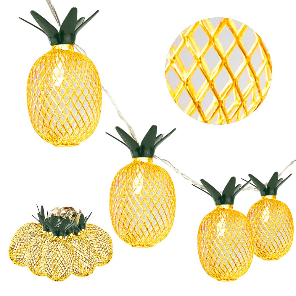 Whonline 2 Pack 8ft 10 LED Pineapple String Lights Battery Operated Fairy String Lights for Party and Home Festival Decoration Warm White