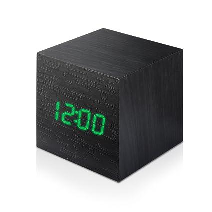 AFAITH Mini reloj moderno de madera de Digitaces del cubo de Digitaces, reloj de alarma de madera con la temperatura y tiempo y control de la voz para ...