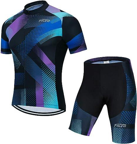 Ropa Deportiva Ciclismo Jerseys Manga Corta Ropa de Bicicleta de la parte superior de los Hombres MTB Jersey Transpirable Verano, Hombre, color morado, tamaño S=Chest 32.3-35.4