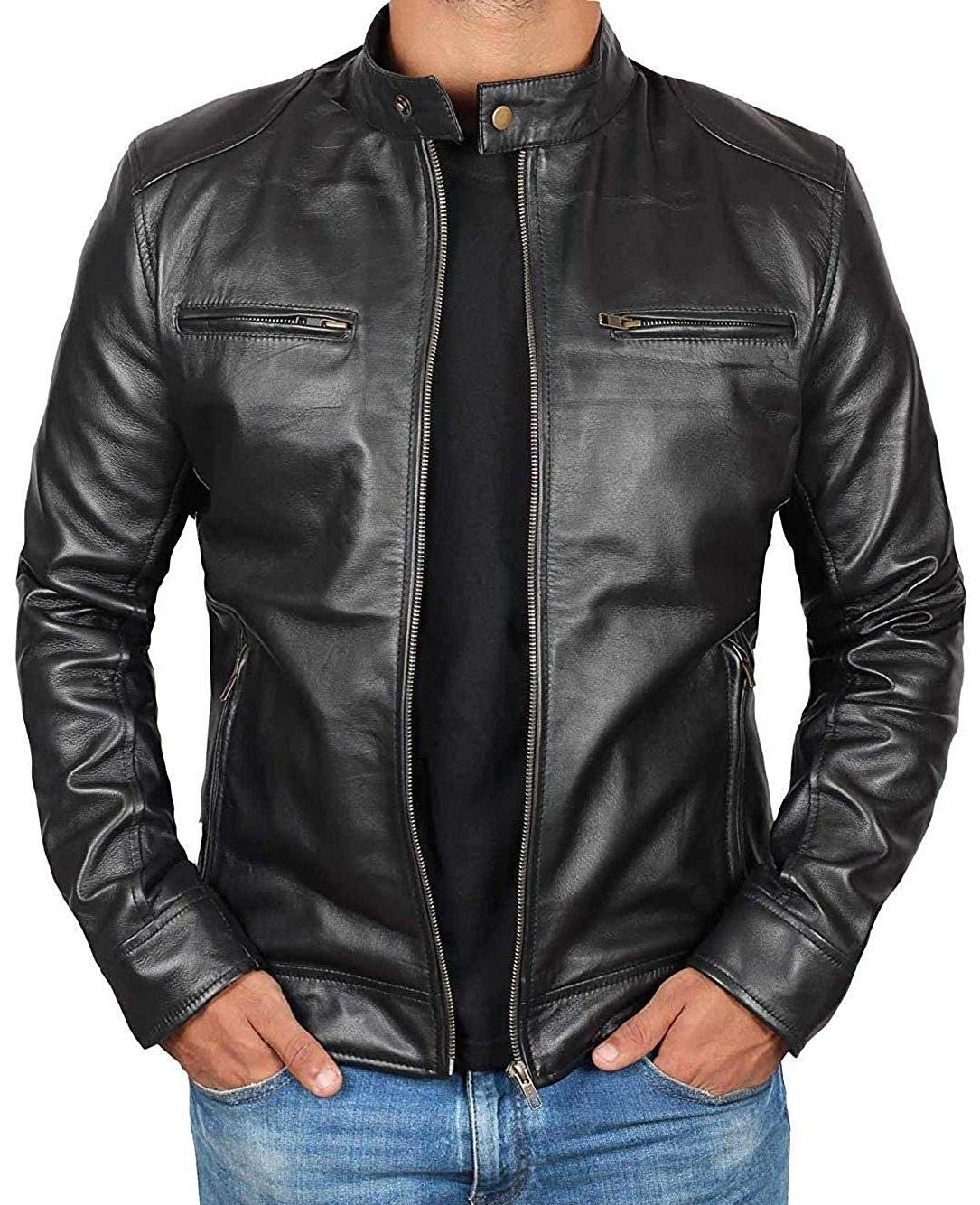BlingSoul Genuine Lambskin Black Leather Jacket for Men   [1100123] Dodge - M