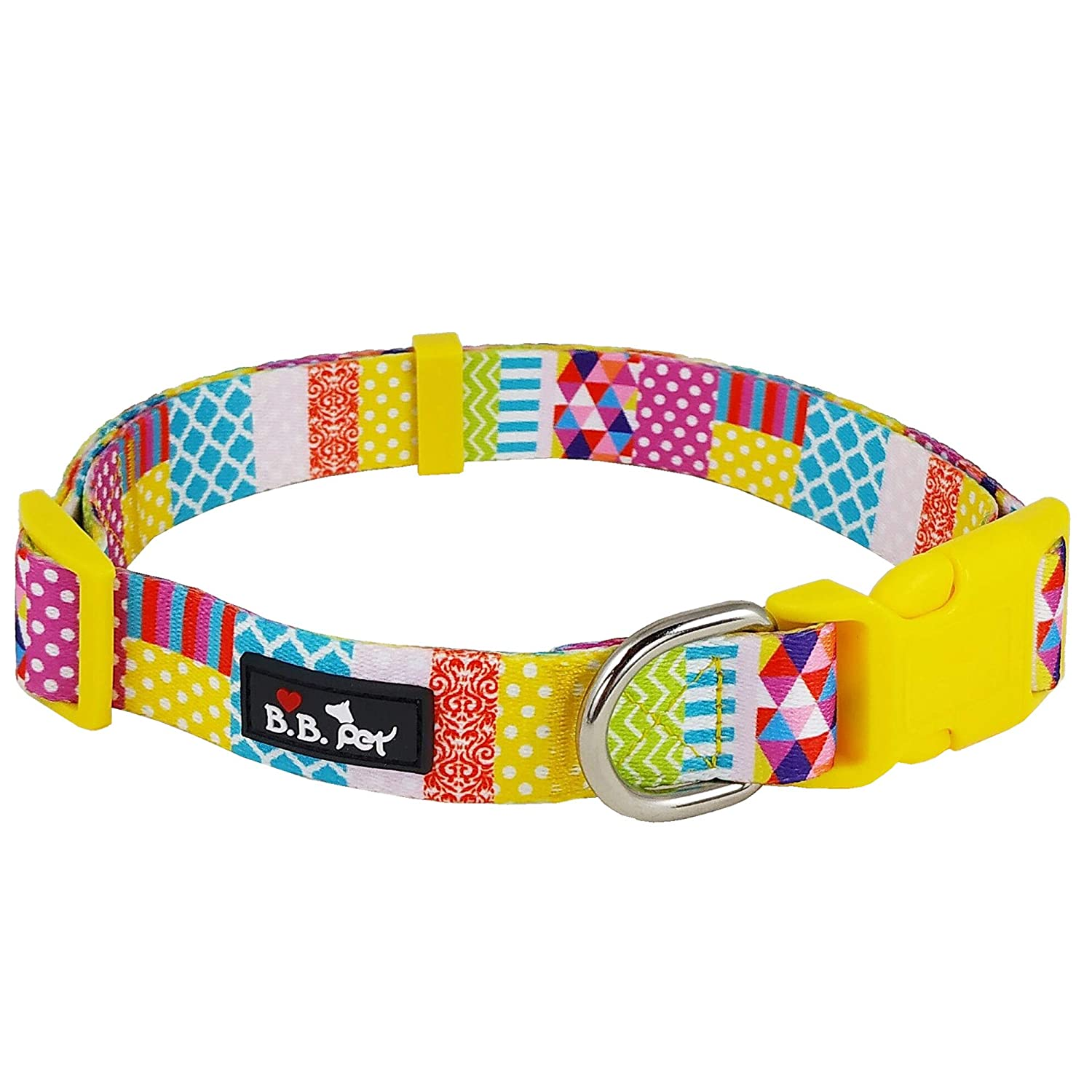 11\ Bestbuddy Pet colorful Patchwork Durable Nylon Designer Fashion Dog Collar Trendy Comfortable Adjustable Dog Collar with Buckle BBP007