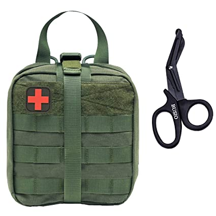 BUSIO Tactical MOLLE Pouch Set-IFAK EMT First aid Pouch-Military Emergency  Survival Kit-Medical Bandage Scissors Trauma Bag