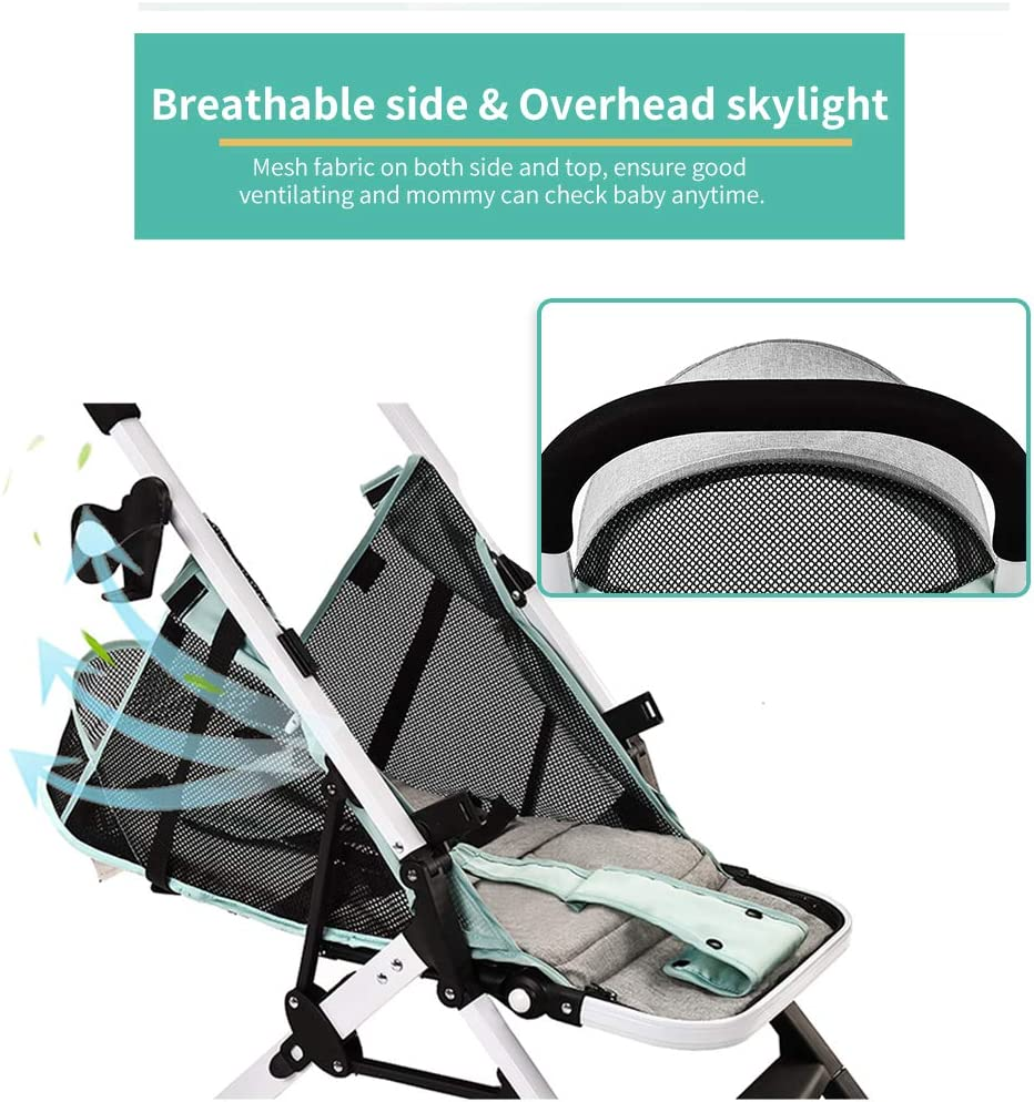 homese Airplane Baby Stroller One Step Fold Lightweight Convertible Baby Carriage with 5-Point Safety Harness Multi-Positon Reclining Seat Extended Canopy for Infant Toddler Light pink