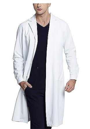 WWOO Hombre Bata de Laboratorio Blanco Bata de Médico Uniforme Sanitario Ropa de Trabajo Actualización de la Tela: Amazon.es: Ropa y accesorios