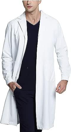 WWOO Hombre Bata de Laboratorio Blanco Bata de Médico Uniforme Sanitario Ropa de Trabajo Actualización de la Tela Delgado M: Amazon.es: Ropa y accesorios