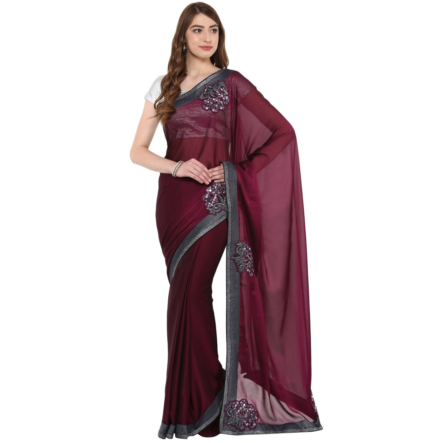 Fasherati Vine Color Silk Georgette Sari With Embroided Border Mirror Work With Blouse For Women