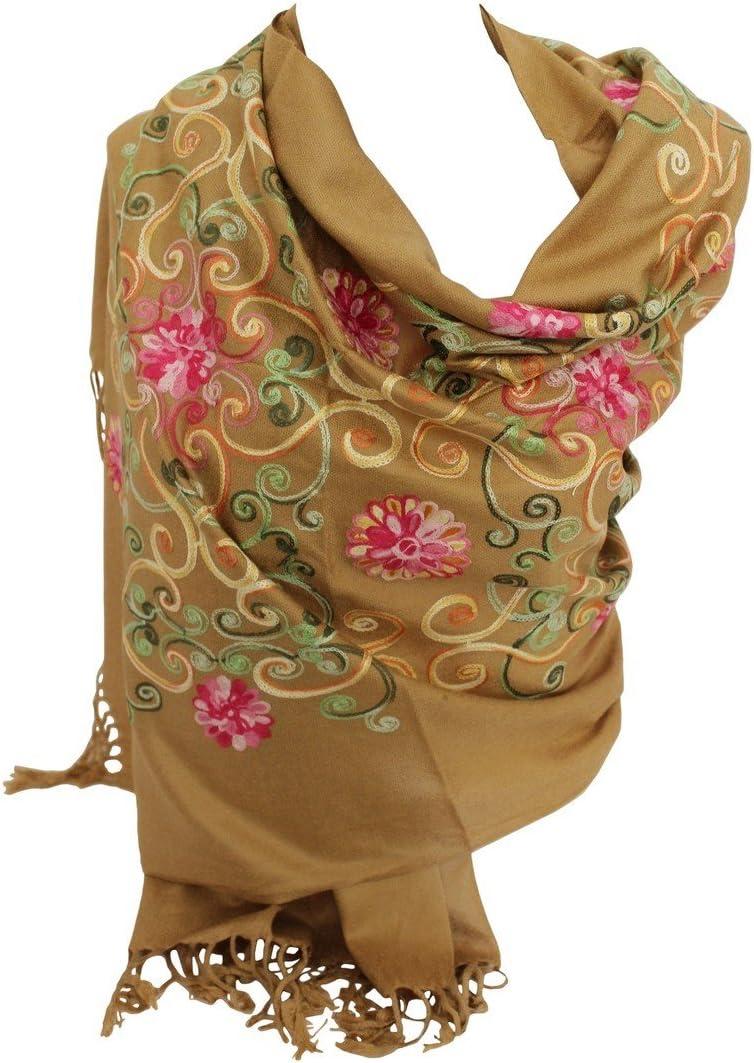 Brown Premium Lush Embroidered Pashmina Feel Scarves Shawl Stole Wrap Head Scarf