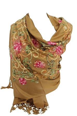 11185e0ca919 Bullahshah Prime luxueux pashmina brodé Foulards Feel Echarpe châle foulard  enveloppé (Beige)