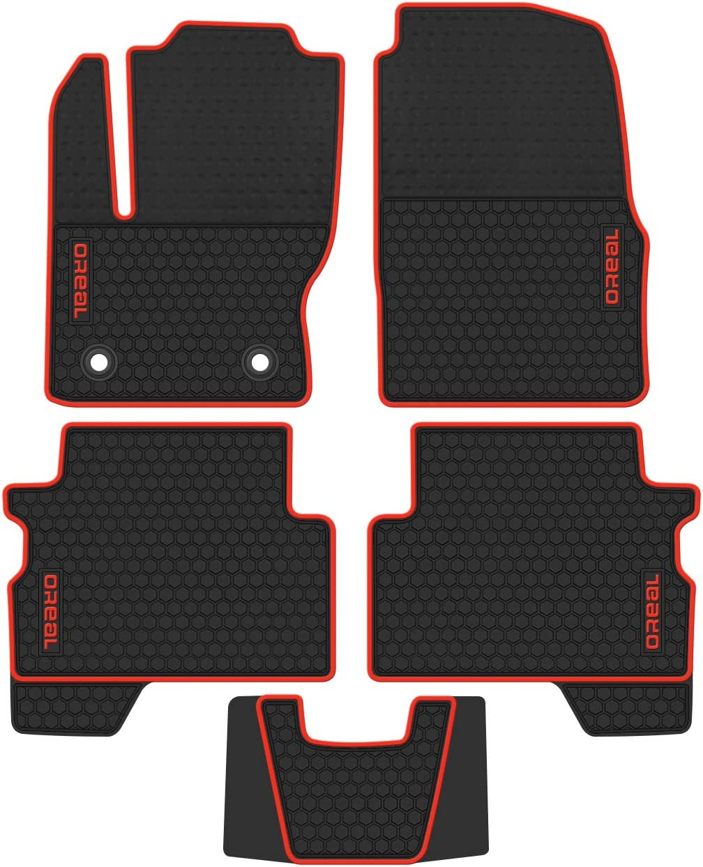 orealauto All Weather Cargo Liner for Ford Escape 2013 2014 2015 2016 2017 2018 2019 Car Font Rear Trunk Mat Heavy Duty Rubber Full Black Custom Fit-Full Coverage-Odorless