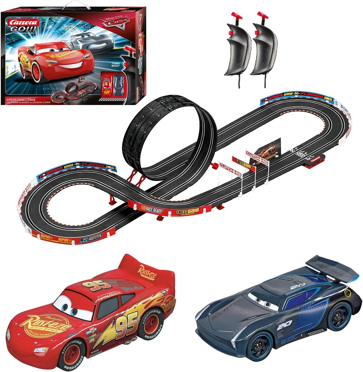 Carrera Go Disney Pixar Cars Speed Challenge Racing Track Game Toy Play Set With Slot Cars 16 Foot Track Lap Counter Speed Controllers Toys Games