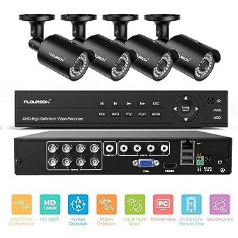 FLOUREON Kits de vigilancia DVR, Sistema de cámara de seguridad ...