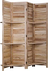 FDW 4 Panel Room Divider Folding Privacy Wooden Screen with Three Clever Shelf Portable Partition Screen Screen Wood for Home Office