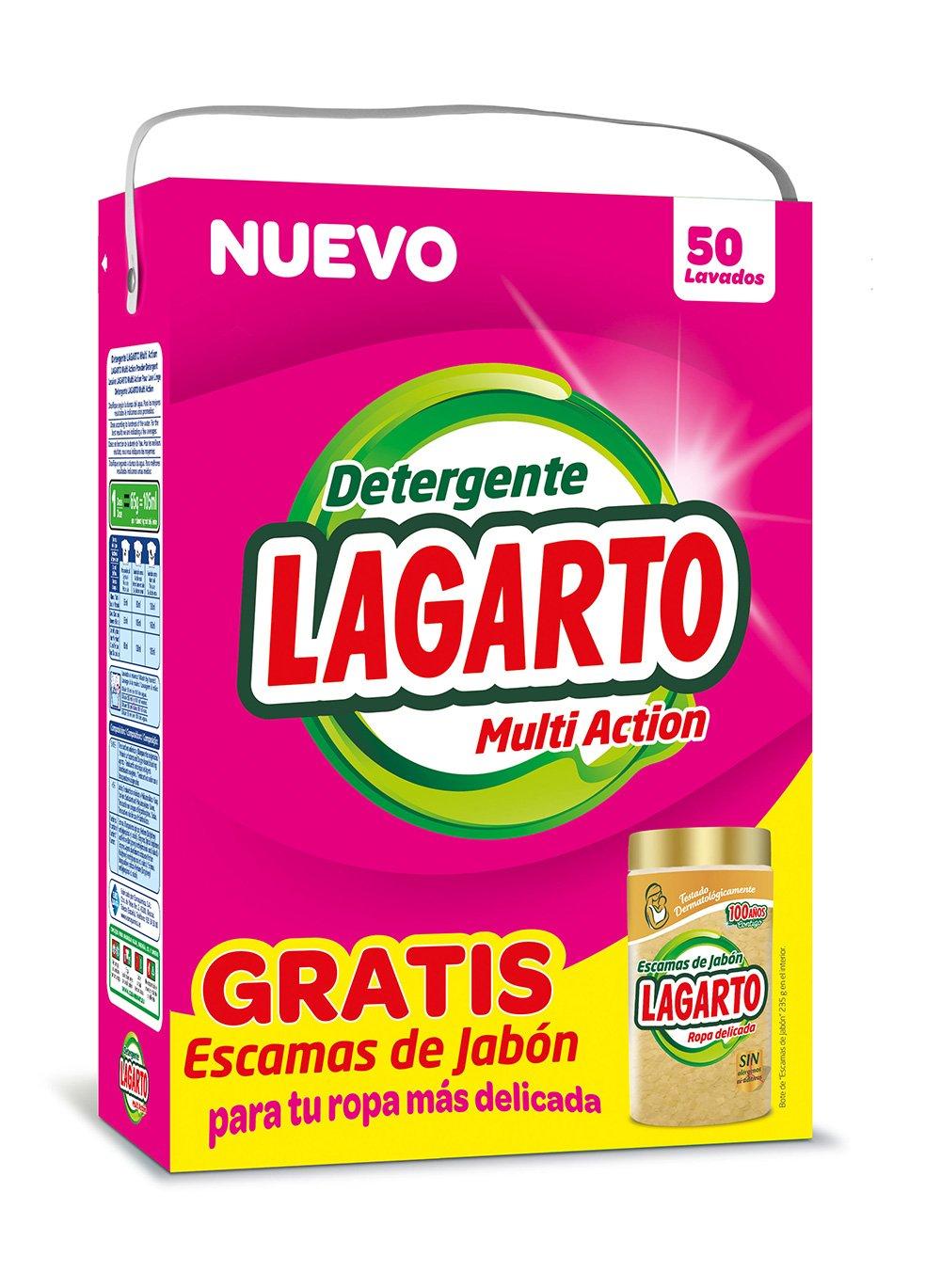 Lagarto Detergente En Polvo Para Lavadora 50 Lavados Bote  ~ Mejor Detergente Lavadora Calidad Precio