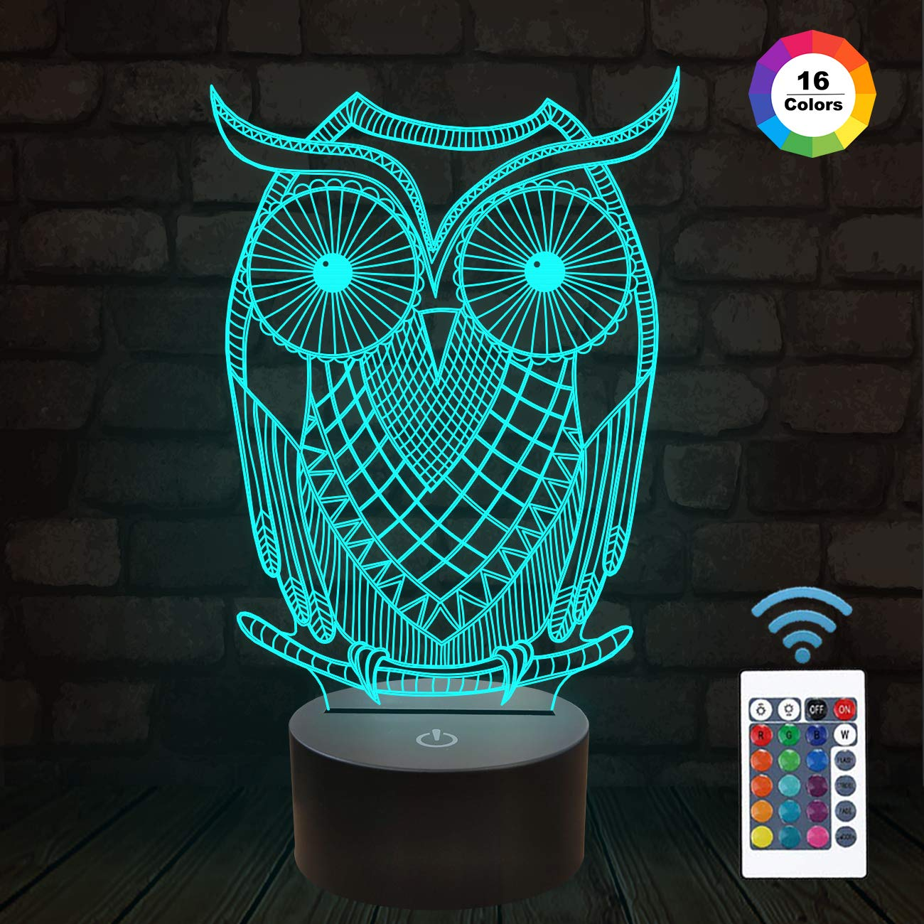 ویکالا · خرید  اصل اورجینال · خرید از آمازون · FULLOSUN Owl Gifts, 3D Owl Night Light Decorations for Home, Creative 3D Illusion Lamp for Kids as Birthday Xmas with 16 Colors Changing & Remote Control & Dimmable Function wekala · ویکالا
