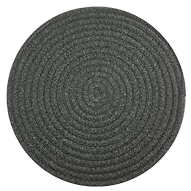 Red-A Round Cotton Placemats Hand Woven Table Mats for Kitchen Heat Insulation Place Mats Set of 4,Dark Grey,(Diameter 12 Inch)