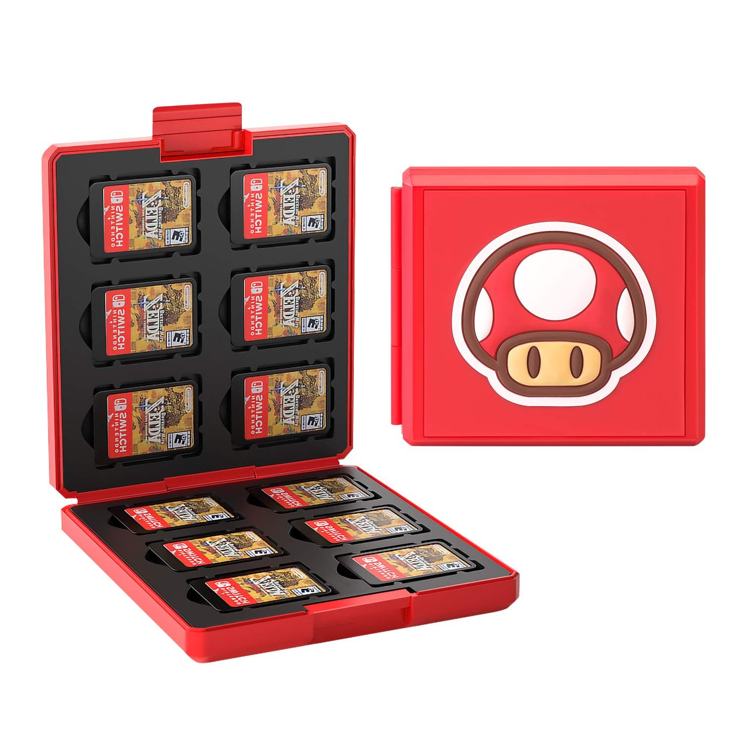 JINGDU Game Card Case for Nintendo Switch,Portable & Thin Hard Shell Box, Protective Shockproof Cartridge Holder Carrying Storage Case Box with 12 Cartridge Slots for Switch NS NX,Red Mushroom