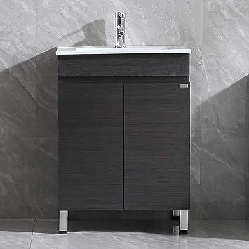 Walsport 24 Inch Black Bathroom Vanity Sink Combo Modern Cabinet Resin Vessel Sink Faucet Combo Set Amazon Com