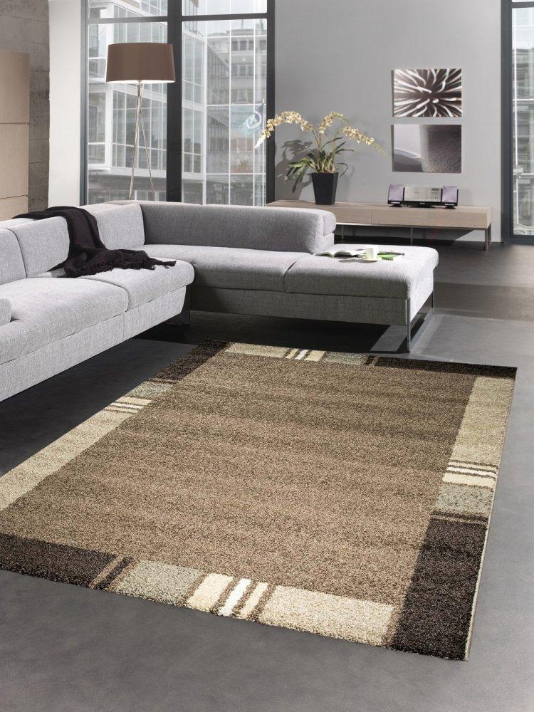 Carpetia Moderner Teppich Kurzflorteppich Wohnzimmerteppich Uni braun beige Größe 120x170 cm