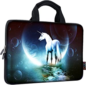 iColor 9.7 10 10.1 10.2 inch Neoprene Tablet Bag Carring Case Sleeve Cover with Handle for 9.7 to 10.2 Inch Laptops/Notebook/ebooks/Kids Tablet/Apple ipad Unicorn ICB10-03