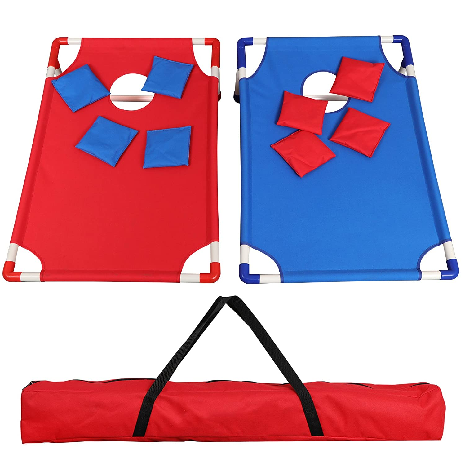 f2 Cポータブル折りたたみ式アルミフレーム付きBeanバッグCornhole Toss Game Set Boards with 8 Beanバッグと携帯ケース B07DW5RBXH 3FT*2FT Blue& Red 3FT*2FT Blue& Red