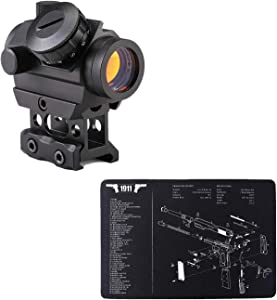 """Pinty 1x25mm Tactical Red Dot Sight 3-4 MOA & 17""""x11"""" Pistol Cleaning Mat Thick & Durable Oil Resistant & Waterproof Sturdy Rubber Material Protective Mat for Gun Accessories"""