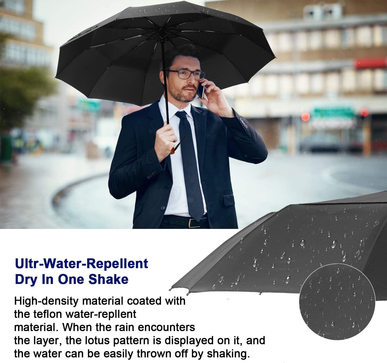 Gris /él/égant Parapluie de Voyage EKOOS Parapluie Pliant Coupe-Vent et Compact avec 10 Baleines 210T Ouverture et Fermeture Automatique