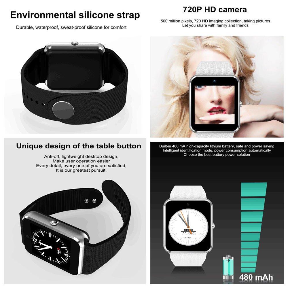 SMDZ QW08 Android 4.4 1.54 Pulgadas 3G Reloj Inteligente Teléfono MTK6572 1.2GHz Dual Core 512MB RAM 4GB ROM Bluetooth 4.0 SmartWatch PK QW09 (Color : Oro): ...
