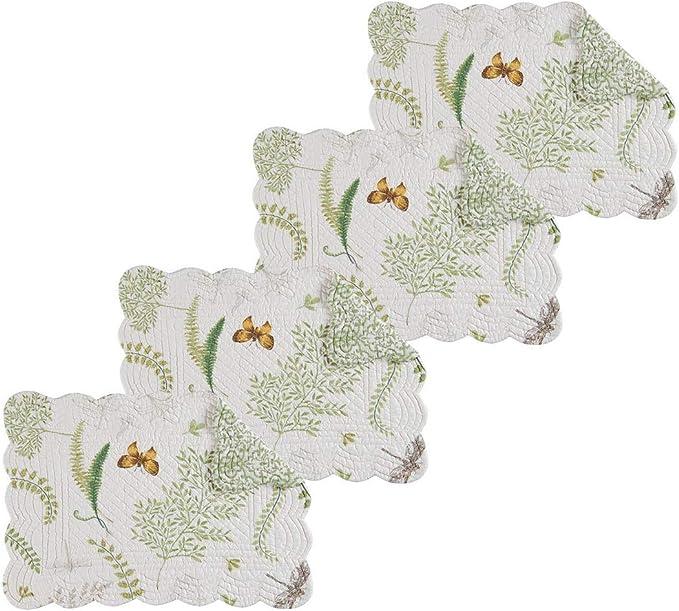 Amazon Com C F Home Althea Rectangular Cotton Rectangular Cotton Quilted Placemat Set Of 4 Rectangular Placemat Set Of 4 Home Kitchen