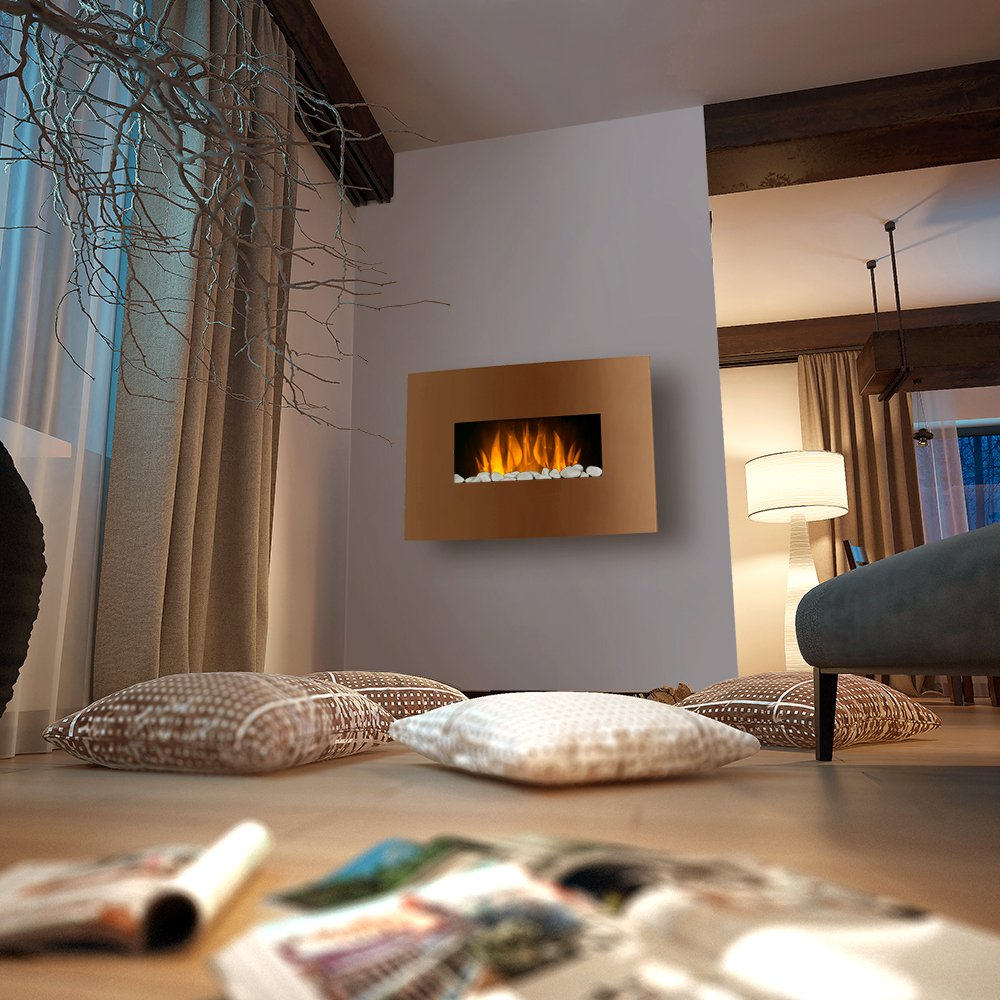 Curved Copper Effect 1KW/2KW LED Wall Mounted Electric Fireplace With  Multi Function Remote Control: Amazon.co.uk: DIY U0026 Tools