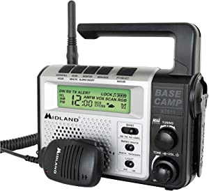 Midland - XT511, 22 Channel Emergency Crank Base Camp Radio - 5 Watt GMRS Two-Way Radio with 5 Power Options, 121 Privacy Codes, 3-LED Flashlight & NOAA Weather Scan + Alert(Gray/Black)