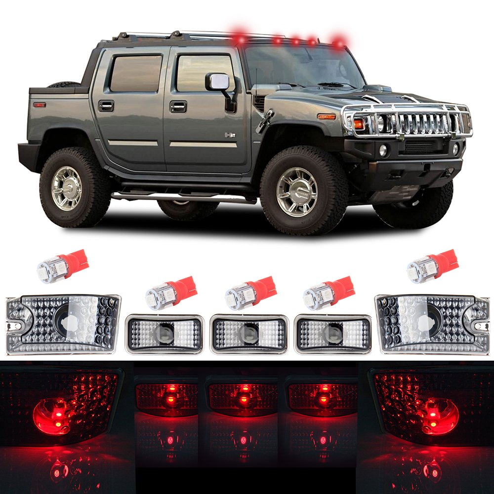 cciyu 5pcs Red Cab Marker Light Top Roof Marker Light Replacement fit for 2003 2004 2005 2006 2007 2008 2009 Hummer H2 806477-5210-1350192