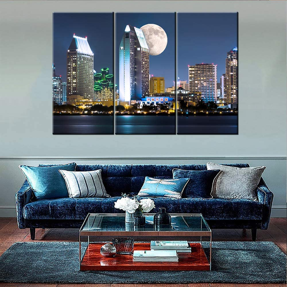 San Diego Downtown Cityscape Canvas Wall Art California Skyline and Moon at Night Picture Giclee Art Print Modern Home Office Wall Decoration Stretched Canvas Ready to Hang 40'' x 20'' x 3 panels