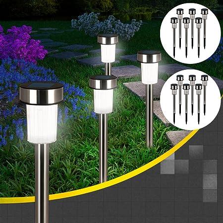 Edelstahl Solarlampen 3er-Set Gartenlampe Solarleuchte Licht Terrasse Leuchte
