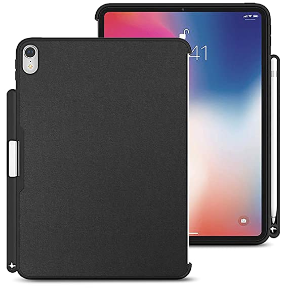 Amazon.com: iPad Pro 11 Case 2018, Luvvitt Back Cover with Pencil Holder Compatible Apple Smart - Heather Black: Computers \u0026 Accessories