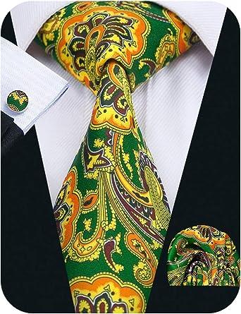 Barry.Wang Pañuelo de bolsillo de corbata de seda verde amarillo ...