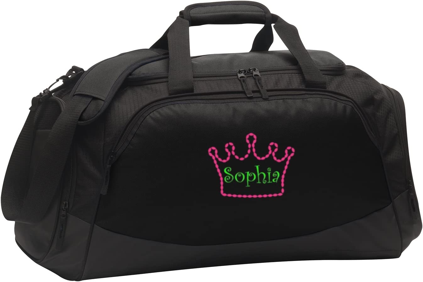 Personalized Crown Gym Bag all about me company Medium Active Duffel Bag Black//Black