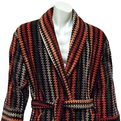 Mens Velour Dressing Gown - Luxury Rust, Beige/Black Jacquard Design ...
