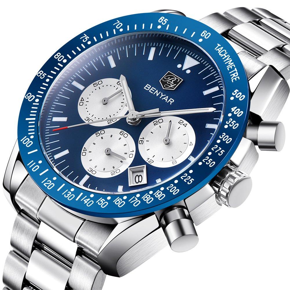 2018 Fashion Men Watch Date Chronograph Sport Watches 30M Waterproof Stainless Steel Quartz Wrist Watch (Blue) by BENYAR