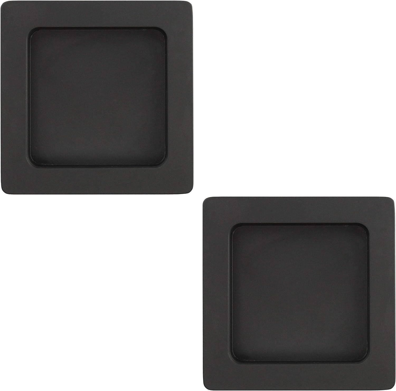 eckig 1 Paar Griffmuschel zum Aufkleben Schwarz matt 70 x 70 x 10 mm