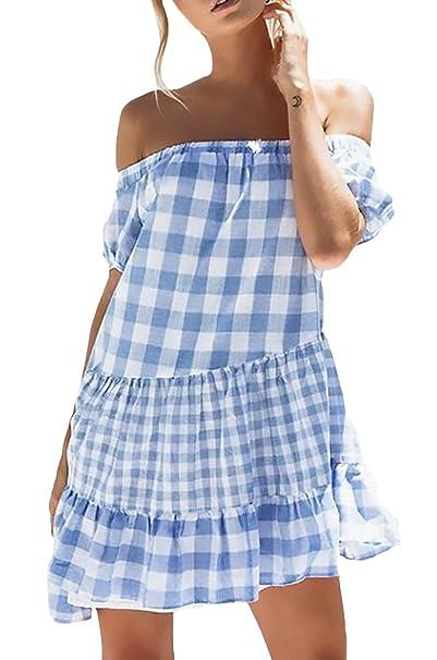 Vestidos Verano Mujer Elegante Barco Cuello Manga Corta A Cuadros Ropa Dama Moderno con Volantes Corto Vestido Playa Anchas Casuales Moda Sin Tirantes ...