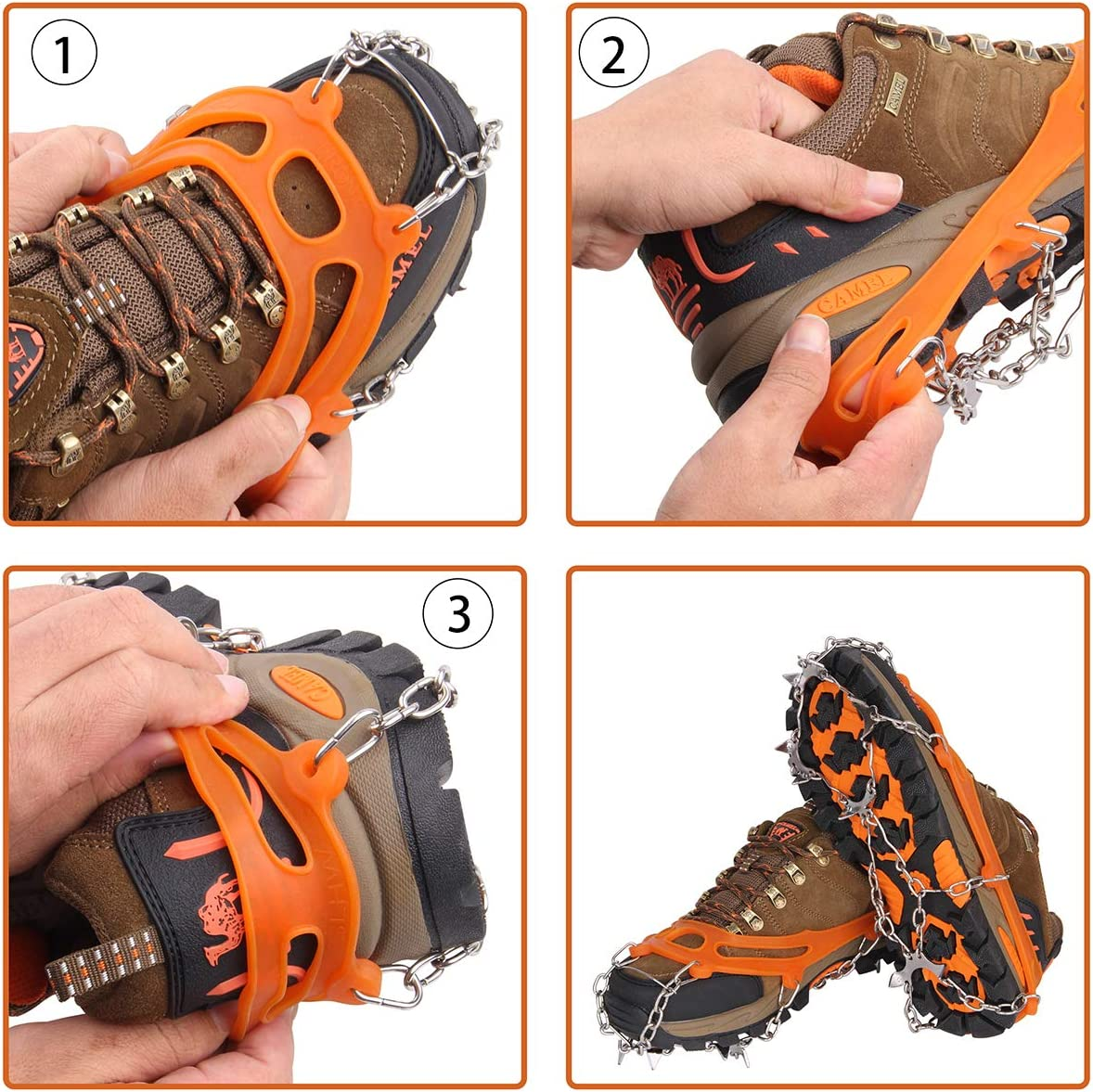 10 Teeth Winter Snow Grippers for Shoes Boots Rubber Ice Grips Stainless Steel Spikes for Walking Hiking Fishing Mountaineering for Women and Men Outdoor Anti-Skid Crampons Ice Cleats Traction