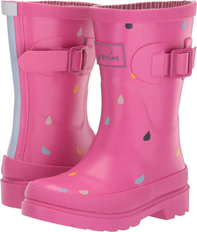 Joules Kids Girls Printed Welly Rain Boot Pink Raindrops 3 Little Kid Toddler//Little Kid//Big Kid