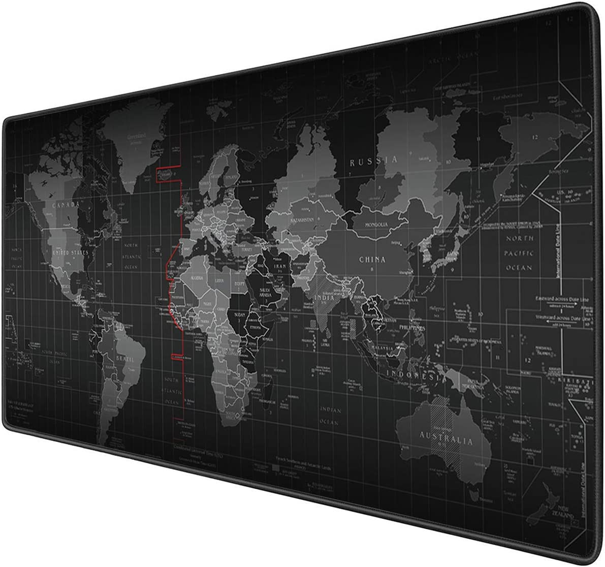 Benvo Extended Mouse Pad Large Gaming Mouse Pad- 35.4x15.7x0.12 inch Computer Keyboard Mouse Mat Non-Slip Mousepad Rubber Base and Stitched Edges for Game Players, Office, Study, World Map Pattern