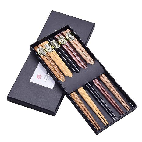 Easy-Room - Palillos de madera reutilizables, 5 pares con caja negra hecha a
