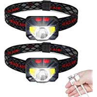 CharmCollection LED Head Torch, USB Rechargeable Headlamp Headlight, [2 Pack] Ultra Bright LED Headtorch, Head Lamp with…