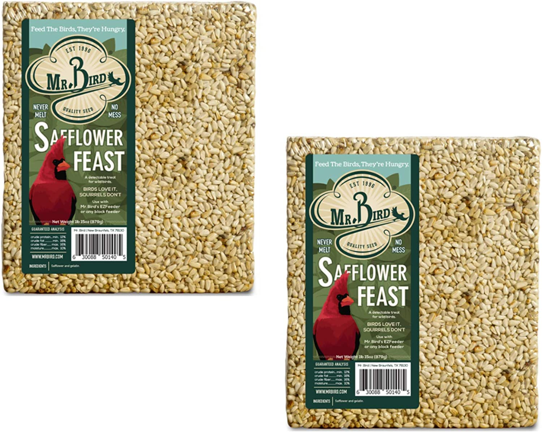 Mr. Bird Safflower Feast Large Wild Bird Seed Cake 1 lb. 15 oz. (2-Pack)