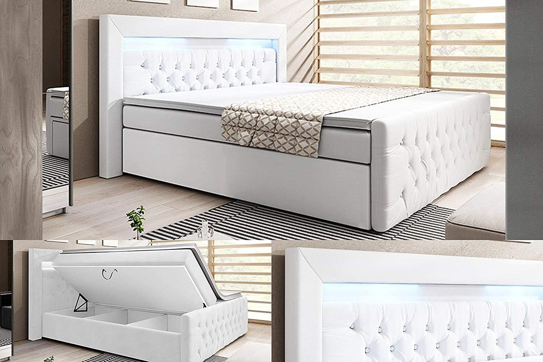 Cama con somier integrado York+ / Función de elevación / Con cajones / Cama de hotel, weiss kunstleder, 180 x 200