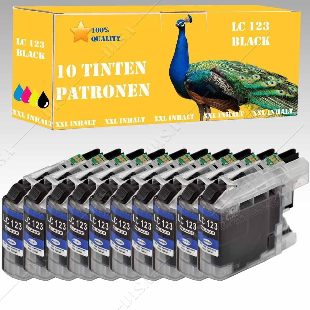 10 x Cartucho de tinta compatible con LC121/LC123 Black Brother ...